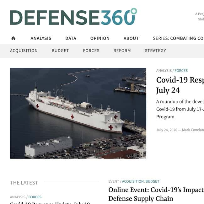 A screenshot of the homepage of the Defense360 website.