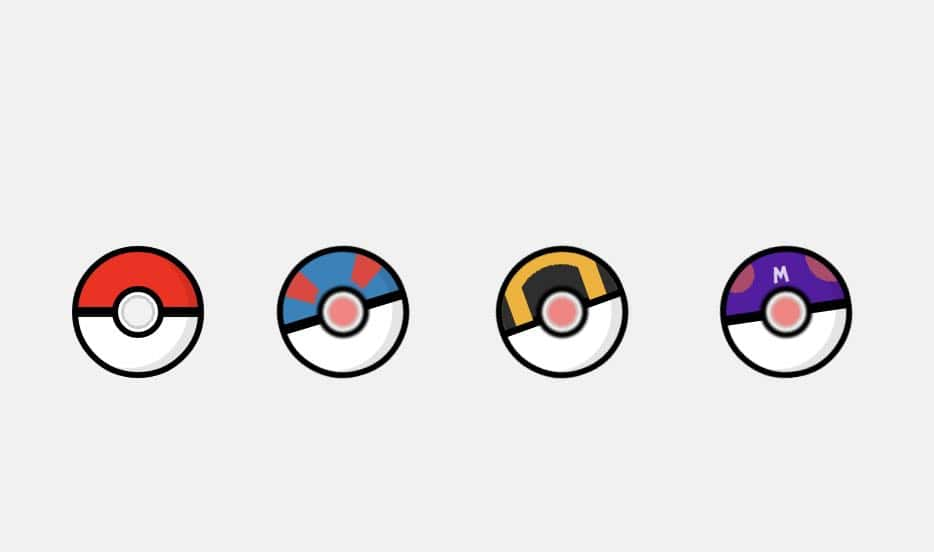An image of the 4 original Pokeballs (Pokeball, Great ball, Ultra Ball, & Master Ball) created entirely with CSS.